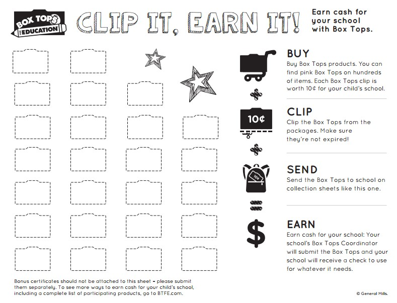 graphic relating to Printable Box Tops Collection Sheets identified as Box Tops for Instruction